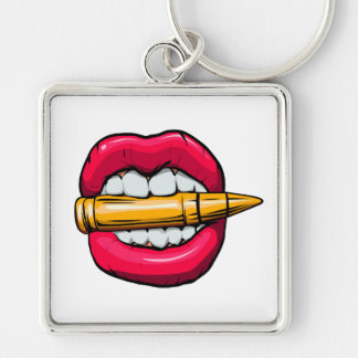 bullet in mouth. Silver-Colored square keychain