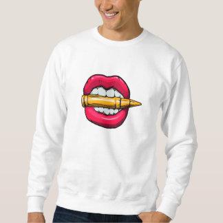 bullet in mouth. sweatshirt