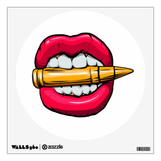 bullet in mouth. wall decal