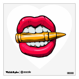 bullet in mouth. wall sticker
