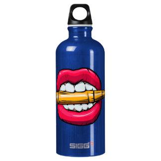 bullet in mouth. water bottle