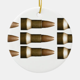bullet rows yeah round ceramic ornament