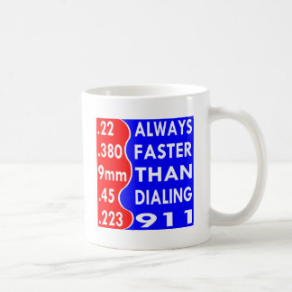Bullets Always Faster Than Dialing 911 Coffee Mug