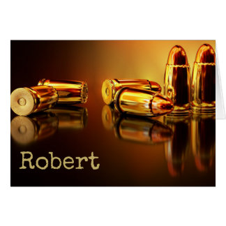 Bullets and cartridges shooting birthday card