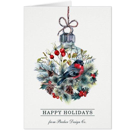 Bullfinch Glass Ball Holiday Greeting Card