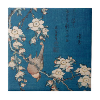 Bullfinch on a Weeping Cherry Branch by Hokusai Tile