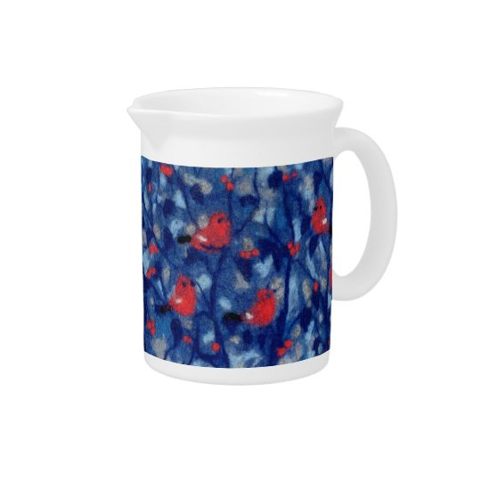 Bullfinches, fiberart, red birds in the blue trees pitcher