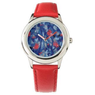 Bullfinches, fiberart, red birds in the blue trees wristwatch
