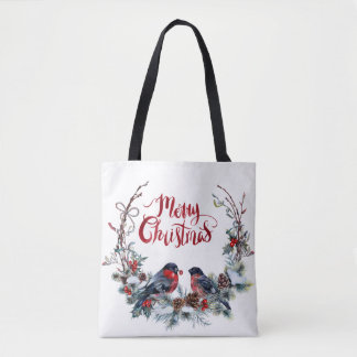 Bullfinches Wreath- Merry Christmas Tote Bag
