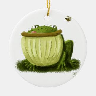 Bullfrog and Fly Illustration Art Ceramic Ornament