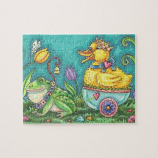 BULLFROG & DUCK PRINCE IN EGG CART, EASTER PUZZLE