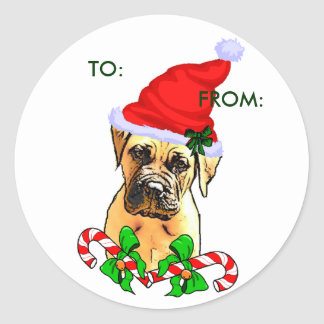 Bullmastiff Christmas Gifts, TO:, FROM: Round Sticker