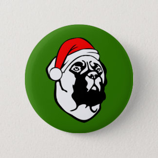 Bullmastiff Dog with Christmas Santa Hat 2 Inch Round Button