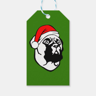 Bullmastiff Dog with Christmas Santa Hat Pack Of Gift Tags