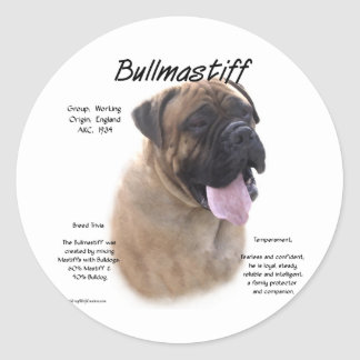 Bullmastiff (fawn) History Design Classic Round Sticker