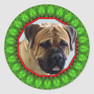 Bullmastiff Happy Howliday Round Sticker