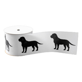 "Bullmastiff in Silhouette 3"" Grosgrain Ribbon"