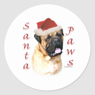 Bullmastiff Santa Paws Round Sticker