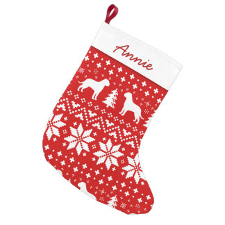 Bullmastiff Silhouettes Pattern Small Christmas Stocking