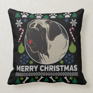 Bullmastiff Ugly Christmas Sweater Dog Design Throw Pillow