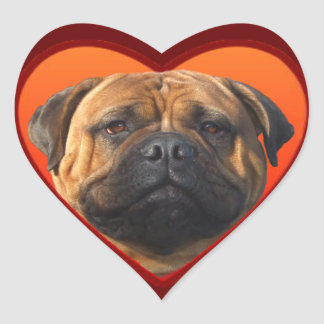 Bullmastiff Valentine's Heart Sticker