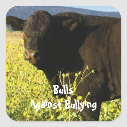 Bulls Against Bullying - Field - Cowboy Parenting Square Stickers
