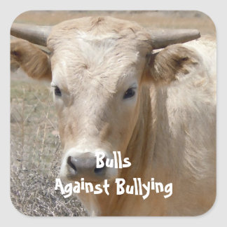 Bulls Against Bullying - White - Cowboy Parenting Square Sticker