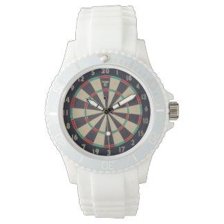 Bulls_Eye,_Dart_Board,_Ladies_White_Sports_Watch Wrist Watch