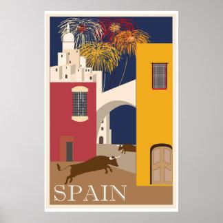 Bulls Spain Running Festival Vintage Travel Poster
