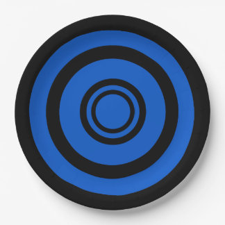 Bullseye, concentric circles - black and blue 9 inch paper plate