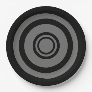 Bullseye, concentric circles - black and grey paper plate