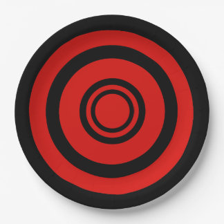 Bullseye, concentric circles - black and red 9 inch paper plate