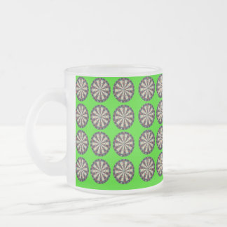 Bullseye Dartboards On Lime Background, Frosted Glass Coffee Mug