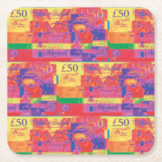 Bullseye Square Paper Coaster