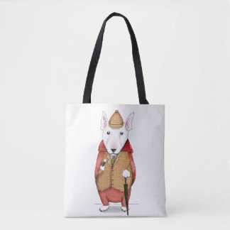 Bullterrier-gentleman watercolor illustration tote bag