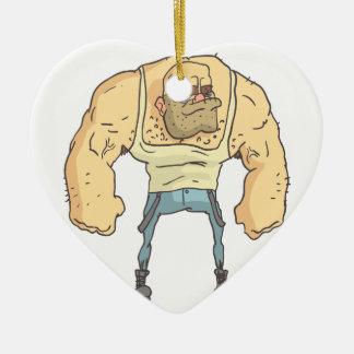 Bully Dangerous Criminal Outlined Comics Style Ceramic Ornament