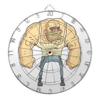 Bully Dangerous Criminal Outlined Comics Style Dartboard