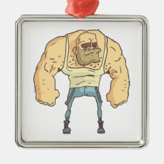 Bully Dangerous Criminal Outlined Comics Style Metal Ornament