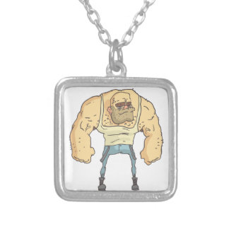 Bully Dangerous Criminal Outlined Comics Style Silver Plated Necklace
