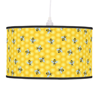 Bumble Bee and Honeycomb Pattern Pendant Lamp
