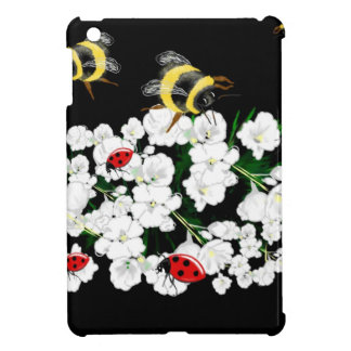 Bumble bee and ladybugs on flowers art gifts iPad mini cover