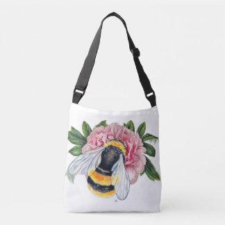 Bumble Bee And Peony Crossbody Bag
