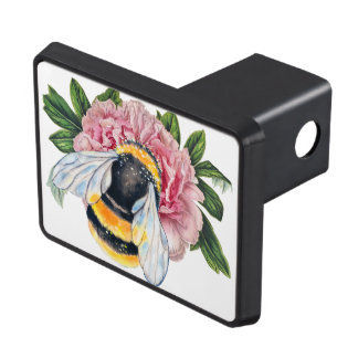Bumble Bee And Peony Trailer Hitch Cover