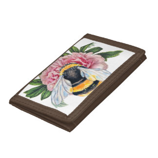 Bumble Bee And Peony Tri-fold Wallet