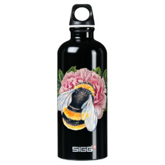Bumble Bee And Peony Water Bottle