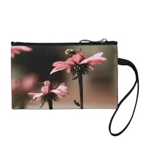 Bumble Bee and Pink Gerber Daisy Key Coin Clutch Coin Wallet