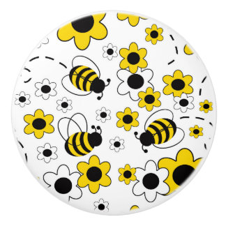 Bumble Bee Baby Girl Nursery Room Yellow Floral Ceramic Knob