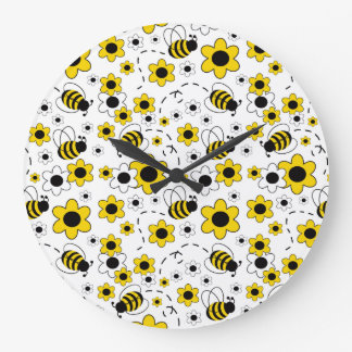 Bumble Bee Baby Girl Nursery Room Yellow Floral Large Clock