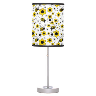 Bumble Bee Baby Girl Nursery Room Yellow Floral Table Lamps
