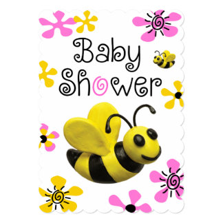 """Bumble Bee Baby Shower 5"""" X 7"""" Invitation Card"""